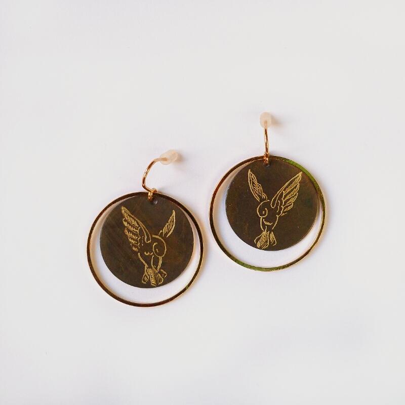 Boucles d'oreilles cercles colibri