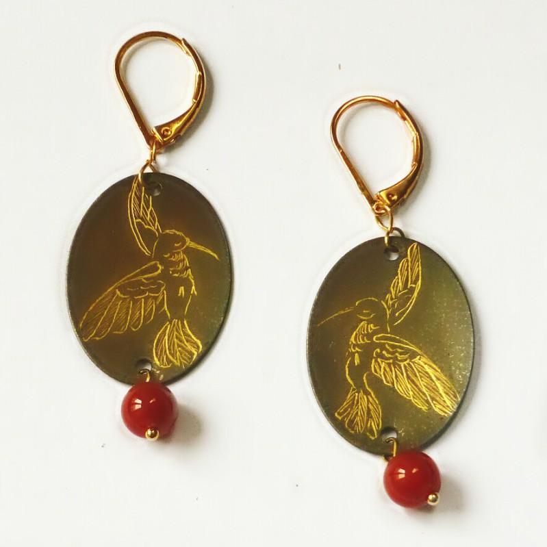 Boucles d'oreilles ovales colibri