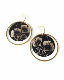 Boucles d'oreilles rondes collection Ginkgo Biloba
