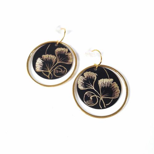 Boucles d'oreilles rondes collection Ginkgo Biloba
