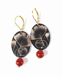 Boucles d'oreilles ovales collection Ginkgo Biloba