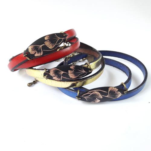 Bracelets cuir collection Ginkgo Biloba