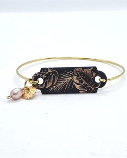 Bracelet dur avec perle collection Jungle