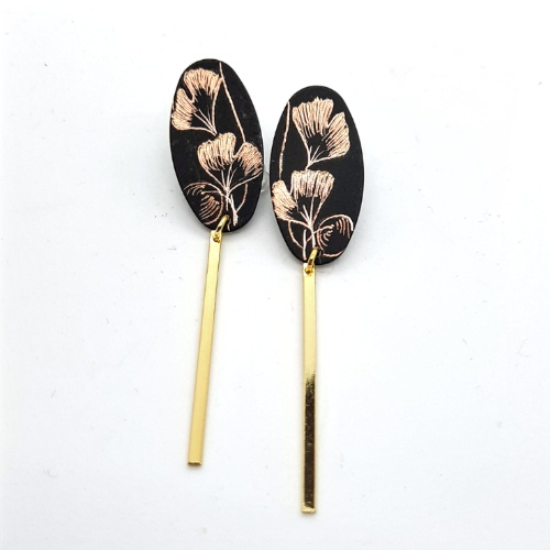 Boucles d'oreilles longues collection Gingko